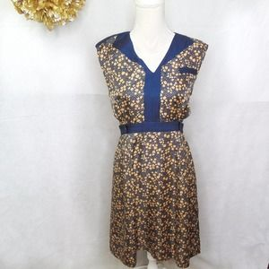 Hi There Geometric Print A-Line Dress Blue V Neck